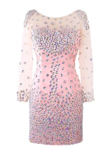 Flirting Scoop Pink Long Sleeves Beading Mini Length Celeb Inspired Gowns