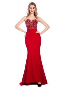 Mermaid Beading Prom Gown Wine Red Zipper Sleeveless With Train Sweep Train