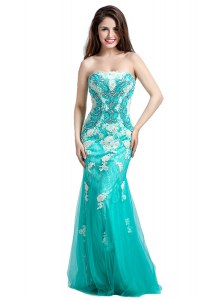 On Sale Mermaid Turquoise Sleeveless Tulle Zipper Dress for Prom for Prom and Party