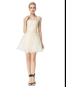 Admirable Champagne Cocktail Dress Prom and For with Beading and Appliques Scoop Sleeveless Lace Up