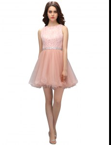 Beauteous Scoop Pink Sleeveless Mini Length Beading and Lace Zipper Celeb Inspired Gowns