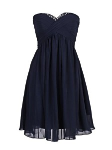 Affordable Column/Sheath Cocktail Dresses Navy Blue Sweetheart Chiffon Sleeveless Mini Length Zipper