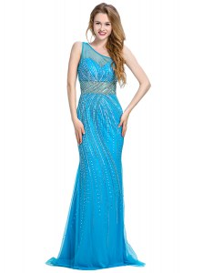 One Shoulder Baby Blue Zipper Prom Dress Beading Sleeveless With Brush Train