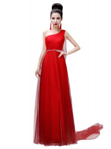 Shining Coral Red One Shoulder Side Zipper Sashes ribbons and Belt Celebrity Evening Dresses Sleeveless