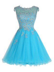 Trendy Baby Blue Scoop Zipper Beading and Appliques Evening Dress Sleeveless