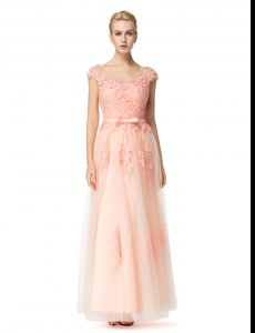 Classical Empire Prom Evening Gown Peach Scoop Tulle Cap Sleeves Floor Length Zipper