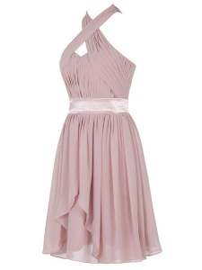 Enchanting Pink Empire Ruching Backless Chiffon Sleeveless Mini Length