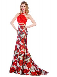 Mermaid Halter Top Printed Multi-color Zipper Prom Evening Gown Lace and Pattern Sleeveless With Brush Train