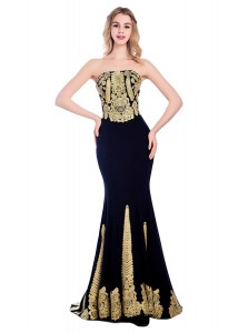 Mermaid Strapless Sleeveless Sweep Train Zipper Black Satin
