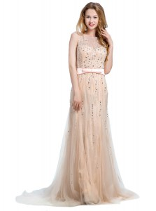 Scoop Champagne Backless Beading Sleeveless With Brush Train