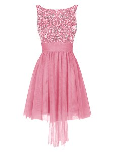 Empire Runway Inspired Dress Pink Bateau Tulle Sleeveless Mini Length Zipper