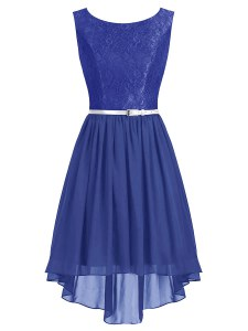 Fancy Chiffon Scoop Sleeveless Side Zipper Lace and Belt Evening Dress in Blue