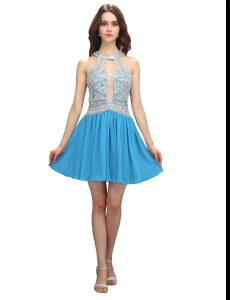 Comfortable Scoop Mini Length Zipper Cocktail Dresses Baby Blue for Prom and Party with Beading