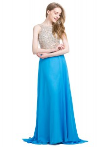 Scoop Blue Sleeveless With Train Beading Zipper Evening Dress