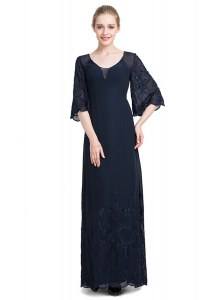 Navy Blue Chiffon Zipper V-neck Half Sleeves Floor Length Prom Dresses Appliques