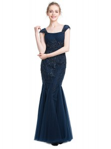 Stunning Mermaid Navy Blue Homecoming Dresses Prom and Party and For with Beading Square Cap Sleeves Zipper