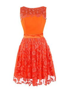 Orange Red Column/Sheath Scoop Sleeveless Lace Mini Length Zipper Lace Prom Dress