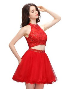Graceful Coral Red Organza Zipper Club Wear Sleeveless Mini Length Beading