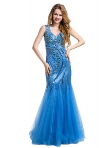 Mermaid Sleeveless Zipper Floor Length Beading and Appliques Prom Gown