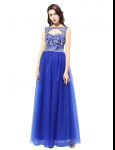 Fantastic Sleeveless Tulle Floor Length Zipper Prom Dresses in Blue with Beading