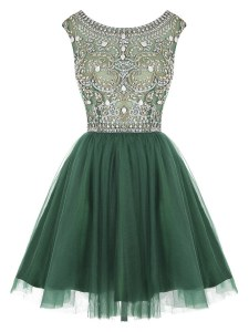Scoop Beading and Appliques Cocktail Dresses Peacock Green Zipper Sleeveless Mini Length
