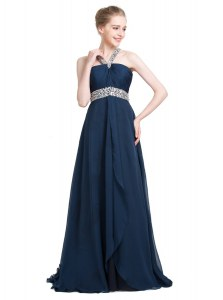 Sweet Blue Empire Chiffon Strapless Sleeveless Beading Floor Length Backless Formal Dresses
