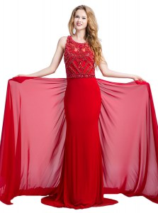 Custom Fit Scoop Sleeveless Court Train Zipper With Train Beading Prom Dresses