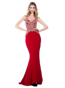 Simple Mermaid Red V-neck Backless Beading Pageant Dress for Womens Brush Train Sleeveless