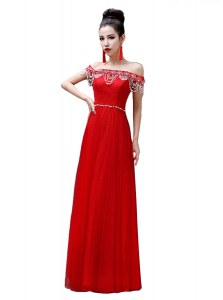 Custom Designed Red Off The Shoulder Neckline Beading Prom Dresses Sleeveless Lace Up