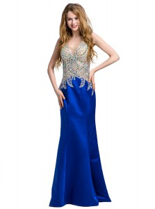 Column/Sheath Evening Dress Royal Blue V-neck Satin Sleeveless Floor Length Backless