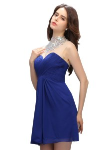 Sweet Royal Blue High-neck Backless Beading Prom Dresses Sleeveless