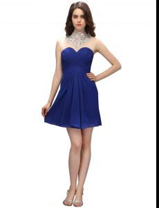 Exceptional Chiffon Sweetheart Sleeveless Zipper Ruching Celebrity Prom Dress in Blue