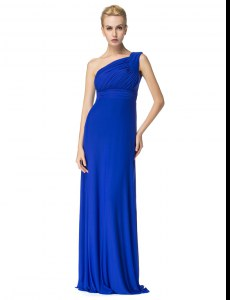 Royal Blue Chiffon Side Zipper One Shoulder Sleeveless Floor Length Prom Gown Ruching
