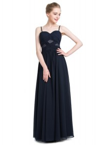 Black Spaghetti Straps Neckline Ruching Pageant Dresses Sleeveless Zipper