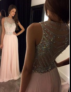 Affordable Chiffon Scoop Sleeveless Brush Train Side Zipper Beading Womens Evening Dresses in Pink