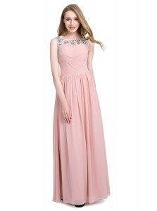 Scoop Floor Length Zipper Pink for Prom and Party with Beading