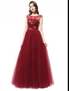 Scoop Sleeveless Zipper Prom Dresses Burgundy Tulle