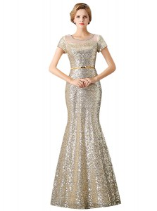Mermaid Scoop Floor Length Champagne Hoco Dress Sequined Sleeveless Sequins
