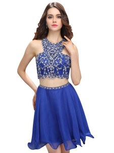 Scoop Sleeveless Evening Dress Mini Length Beading Blue Chiffon