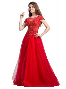 Suitable Coral Red Empire Tulle Square Cap Sleeves Beading Floor Length Side Zipper Evening Dress