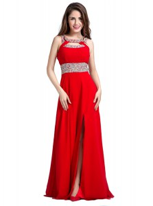 Floor Length Zipper Prom Evening Gown Red for Prom and Party with Beading