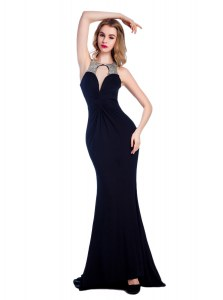 Stunning Black Column/Sheath Silk Like Satin High-neck Sleeveless Beading Floor Length Criss Cross Evening Dresses