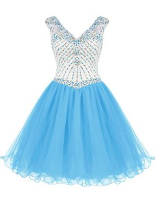 Attractive Baby Blue Organza Zipper Celebrity Prom Dress Sleeveless Mini Length Beading
