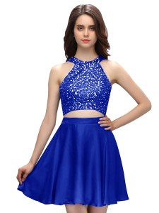 Fancy Scoop Sleeveless Cocktail Dresses Mini Length Beading Royal Blue Taffeta
