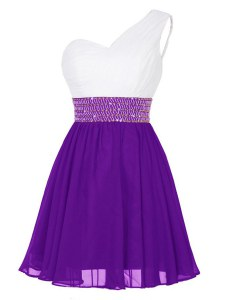 White And Purple Zipper One Shoulder Beading Club Wear Chiffon Sleeveless