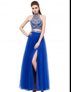 Royal Blue Tulle Criss Cross Square Sleeveless Floor Length Evening Dress Beading