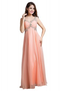 Dazzling Floor Length Backless Prom Party Dress Peach for Prom and Party with Beading
