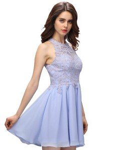 Sexy Mini Length Lavender Cocktail Dresses Halter Top Sleeveless Zipper