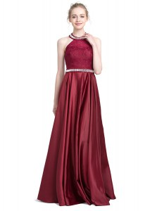 Column/Sheath Prom Gown Burgundy Halter Top Taffeta Sleeveless Floor Length Zipper