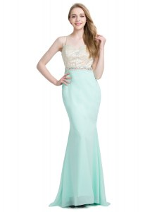 Clearance Criss Cross With Train Apple Green Prom Gown Chiffon Brush Train Sleeveless Beading